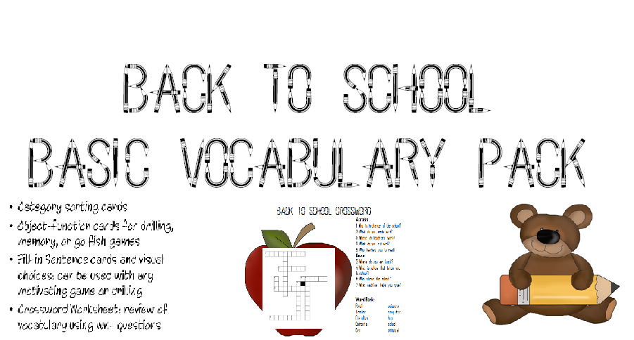 Back to School Basic Vocabulary Pack – Skills Worksheet Vocabulary Review