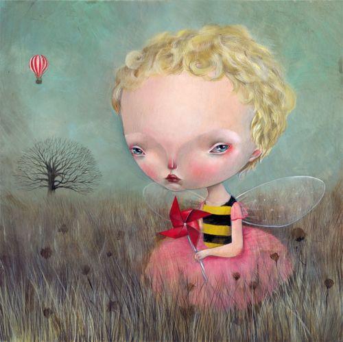 dilka bear ilustrações pinturas surreais crianças meninas cabeção