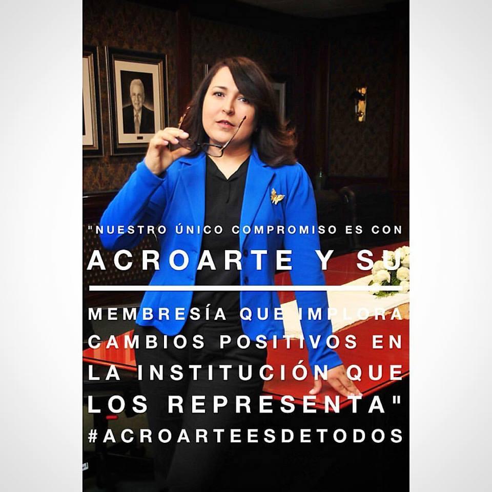 Periodista Emelyn Baldera Rodriguez, presidenta de Acroarte, 2017-2019.