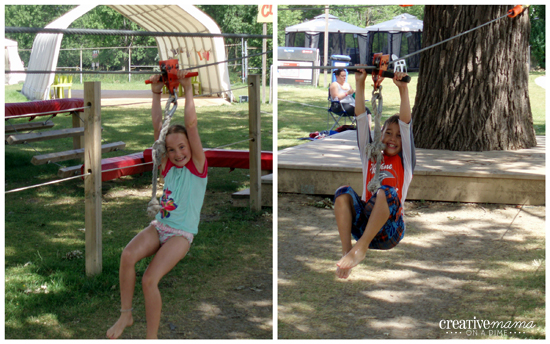Kids' zip line at Wild Water Kingdom