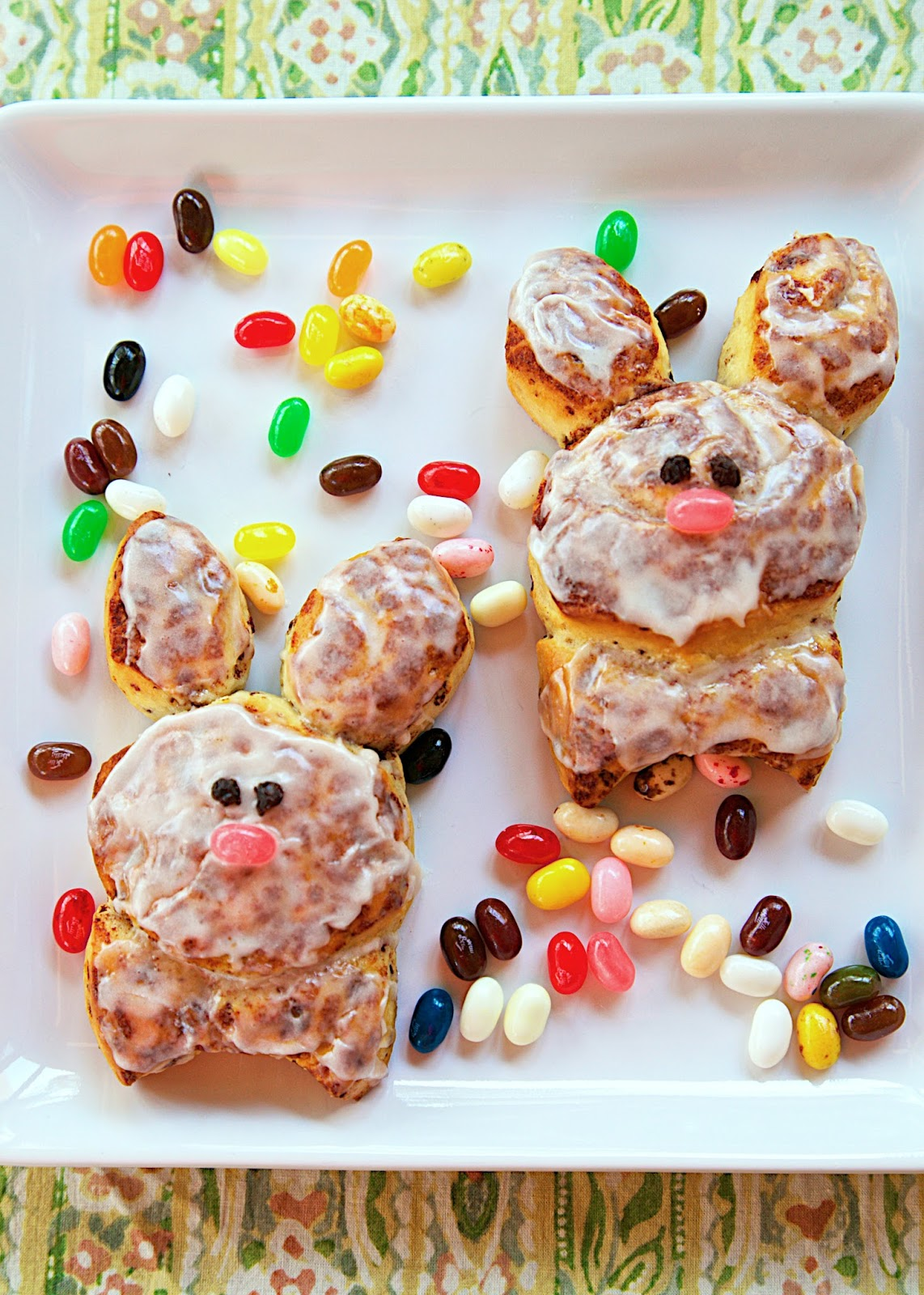 Cinnabunnies Recipe - refrigerated cinnamon rolls cut out in the shape of an Easter bunny. The perfect Easter morning treat!