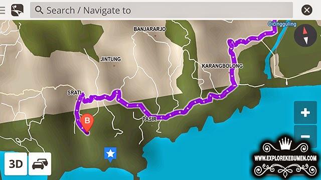 Peta Lokasi Pantai Surumanis Kebumen