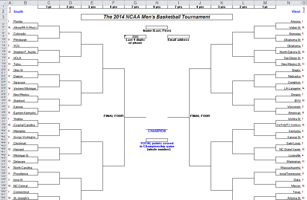 2014 ncaa bracket excel spreadsheet
