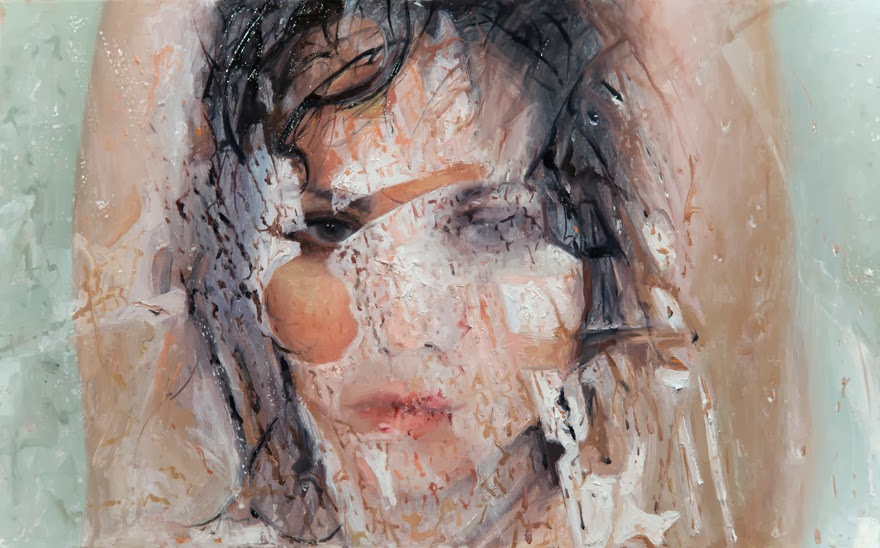 Alyssa Monks Realistic Oil Painting Water Fog Paint bubbles woman face steam