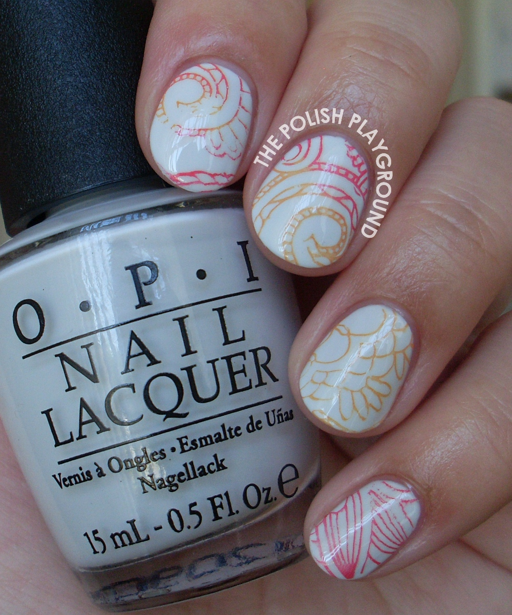 Red and Orange Swirly Floral Stamping Nail Art