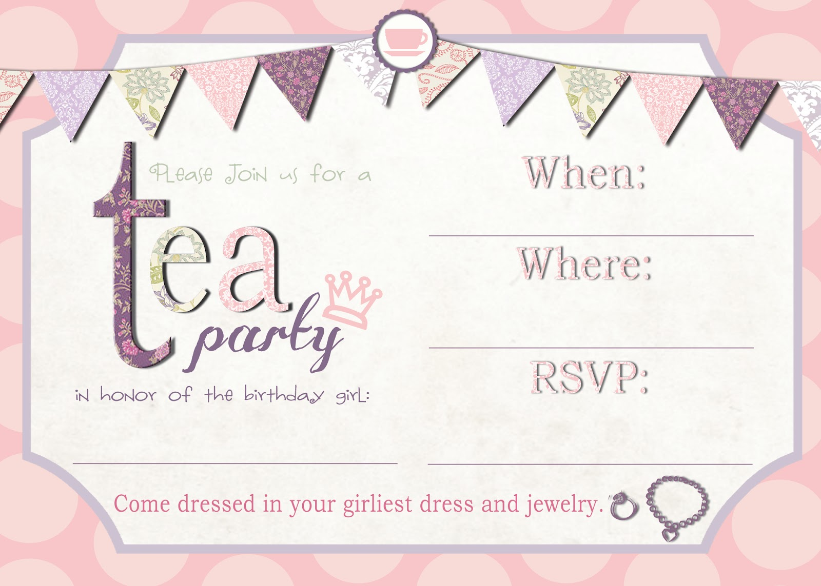 Juicy image regarding free printable tea party invitations