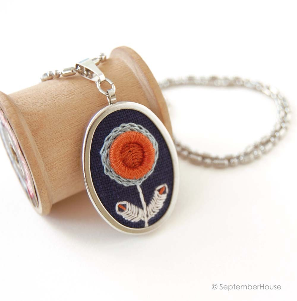 hand embroidered necklace in modern floral design