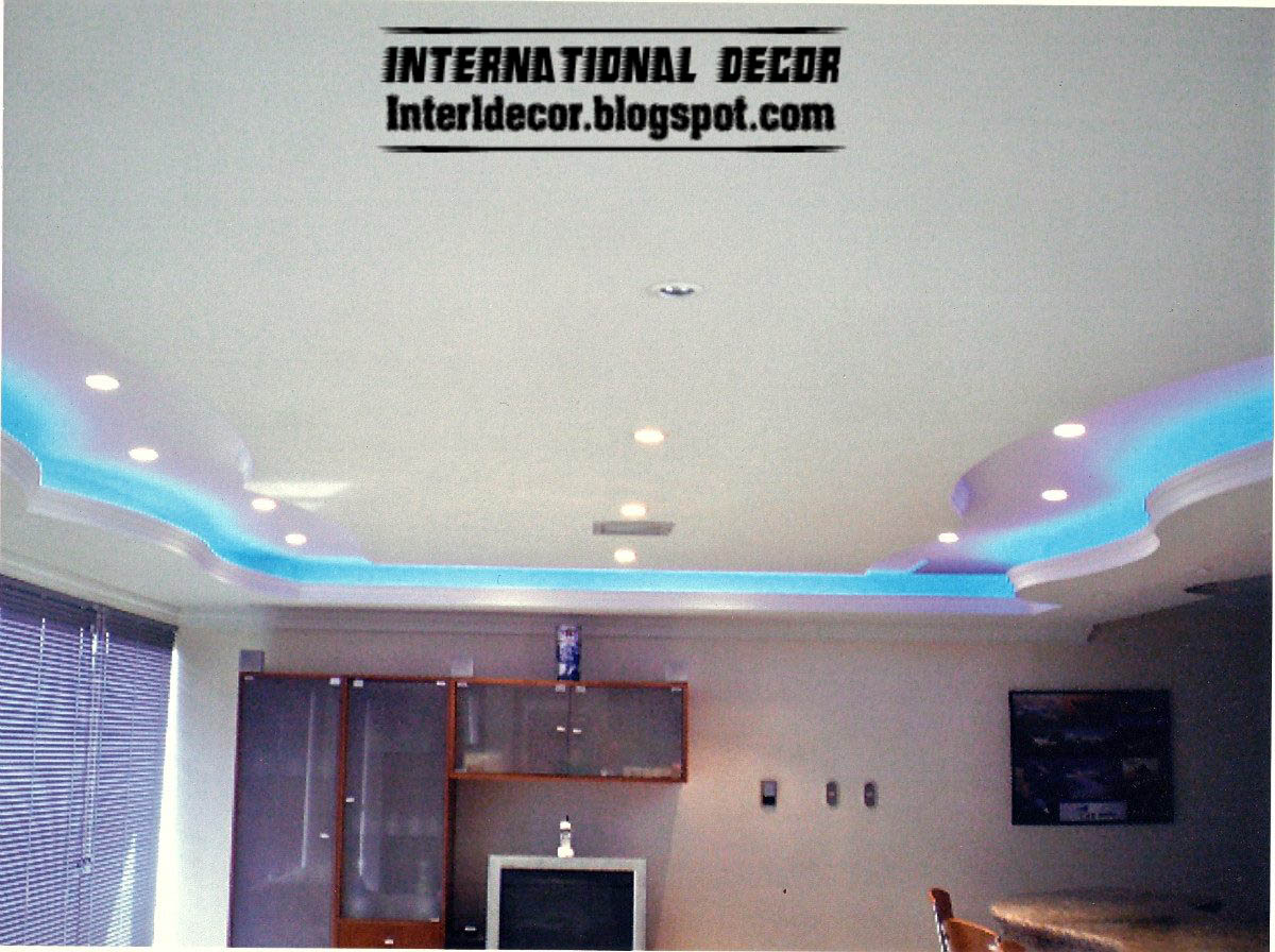 Gypsum ceilings designs with blue ceiling lighting ideas for Images decor gypsum