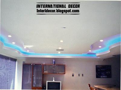 modern gypsum board ceiling blue ceiling lighting Gypsum ceilings designs with blue ceiling lighting ideas