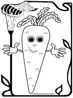 mewarnai kartun gambar wortel