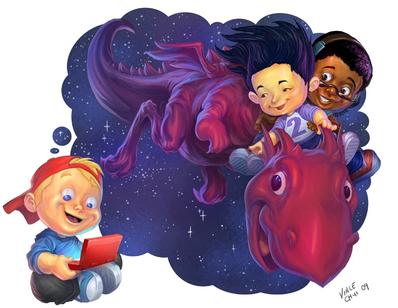 illustration de Vince Chui représentant un gamin jouant à un console portable et faisant un reve de dragon
