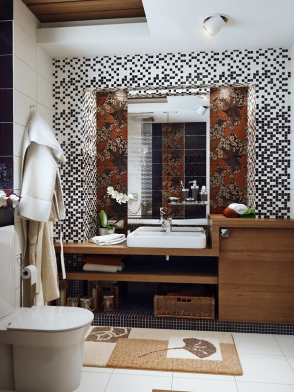 Baño De Lujo Pequeno:Los pisos de color claro son perfectos para los baños pequeños