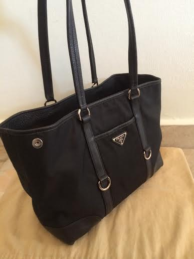 prada fringe bag - Truly Vintage: Authentic Prada Tessuto Nylon Tote + Leather Trim
