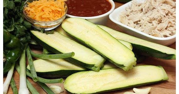 Chicken Enchilada Stuffed Zucchini Boats ~ Food Berry