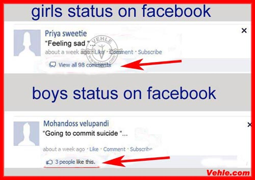 Girls And Boys Facebook Status