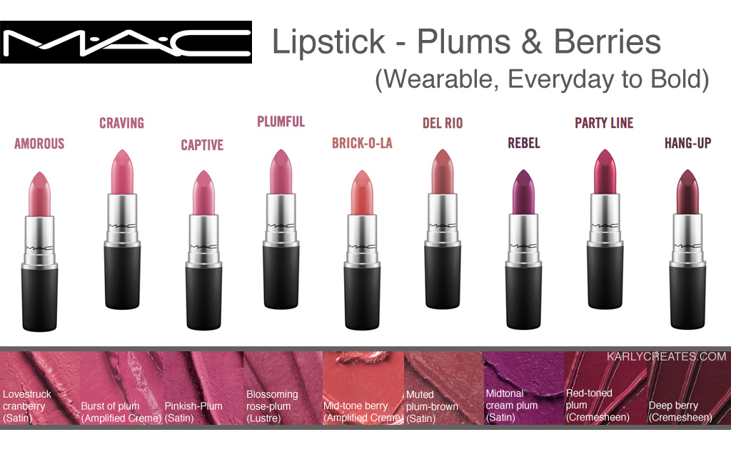 MAC Lipsticks for Everyday (Neutrals, Pinks, Plums, Berries ...