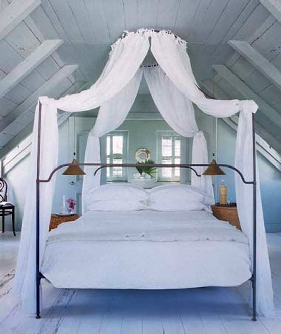 white canopy bed, exposed painted beams, Bahamas