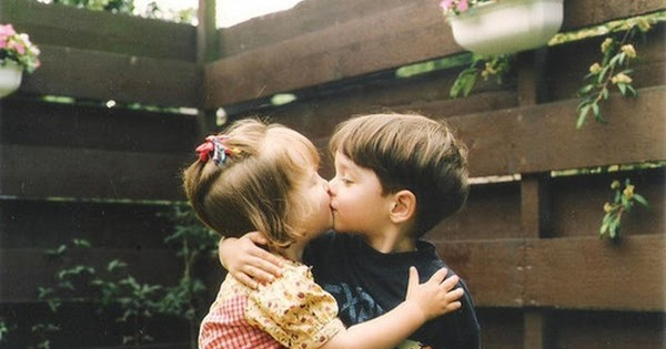 Kissing Cute Kids Little Couple Beautiful
