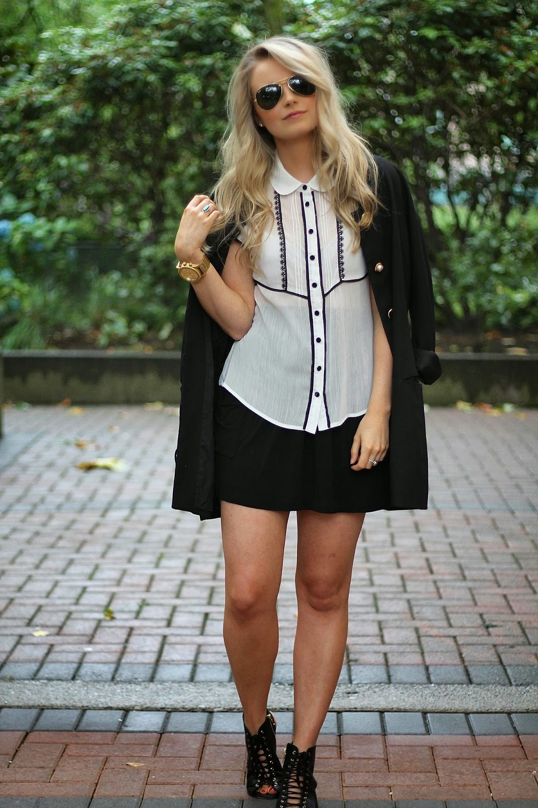 how to make a black and white outfit interesting