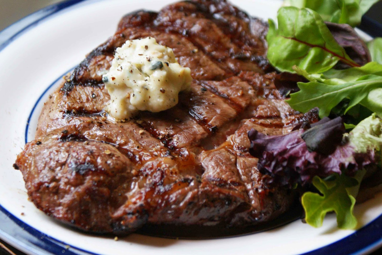 RIB EYE STEAK With Gorgonzola Butter