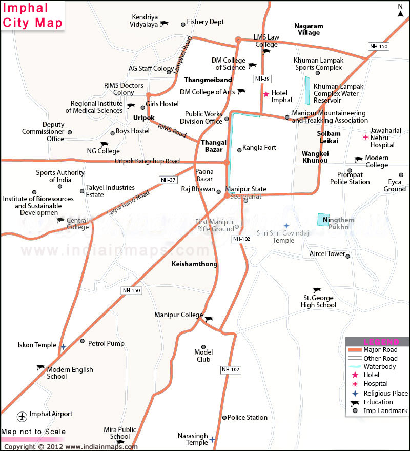 Imphal City Map India In Maps