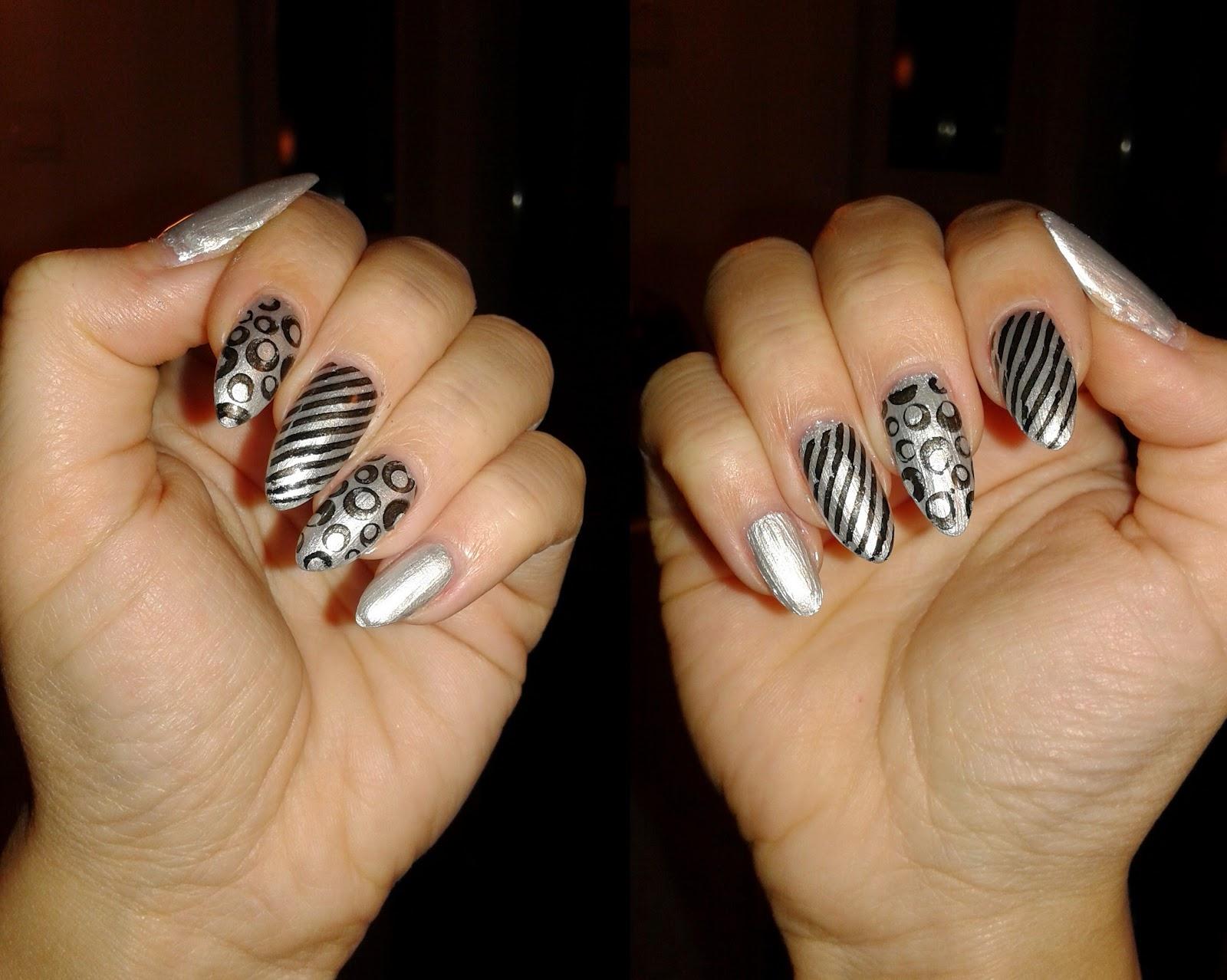 Style Sense Moments Beauty Silver And Black Nails