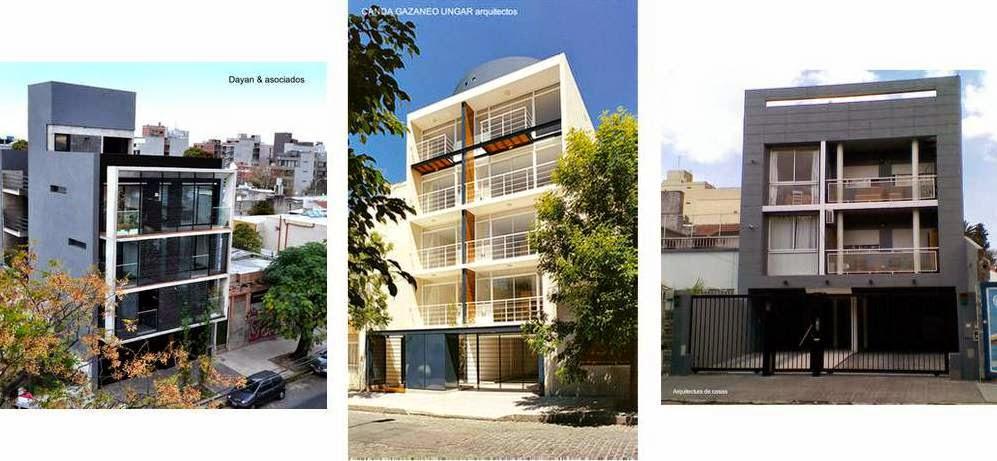 Imágenes de tres edificios de apartamentos en la Ciudad de Buenos Aires