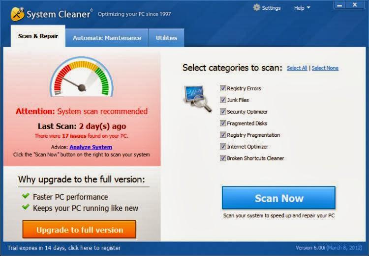 برنامج تنظيف الويندوز للكمبيوتر System Cleaner