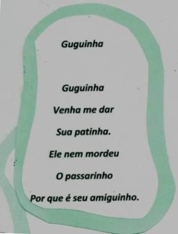 Maria Eduarda criou, e sua vovó Luzia escreveu, uma poesia para Guguinha.
