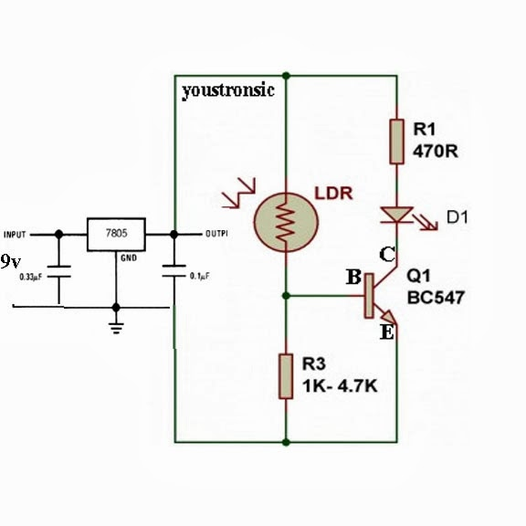 Microcontroller Projects For Beginners: SIMPLE LIGHT SENSOR CIRCUIT