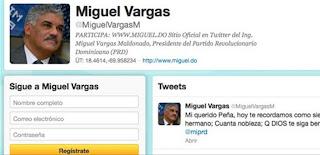 Miguel Vargas recuerda el fallecimiento de Peña Gómez a través de Twitter