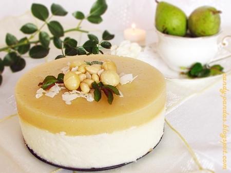 Sernik kokosowy z pianką gruszkową (bez glutenu i cukru)