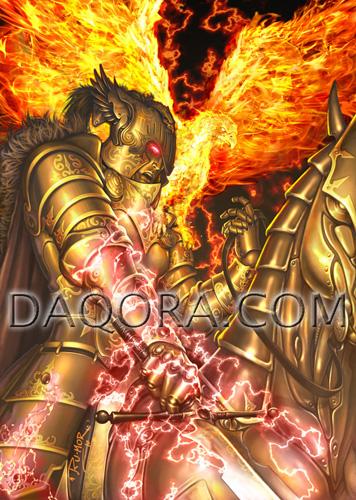 Ilustración de personaje hecha por ªRU-MOR para el juego de fantasía y Cartas de ÉPICA. Edades Oscuras, donde se ve a Kánator, emperador del clan Oda desatado. Caballero con armadura dorada y pájaro de fuego en su hombro. La montura también es de oro