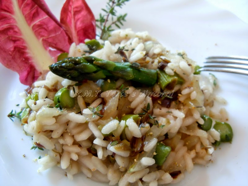 risotto radicchio, asparagi e timo