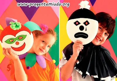 Máscaras para carnaval com pratos descartáveis