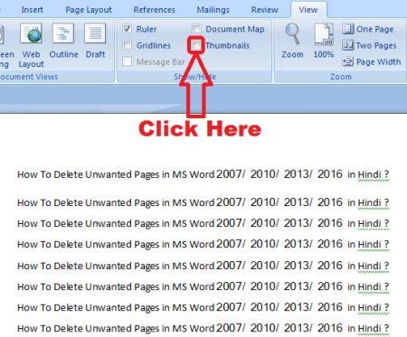How to delete unwanted pages in ms word 2007 2010 2013 2016 in how to delete unwanted page in ms word ccuart Images