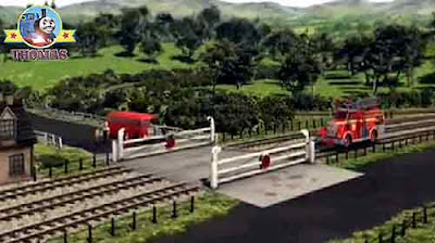 Sir Topham Hatt gatehouse crossing red fire engine Flynn the train Thomas and friends Bertie the bus
