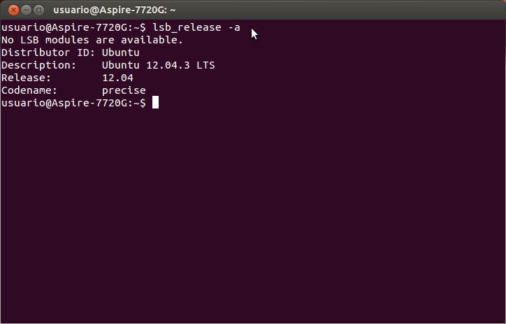 lsb_release -a Terminal