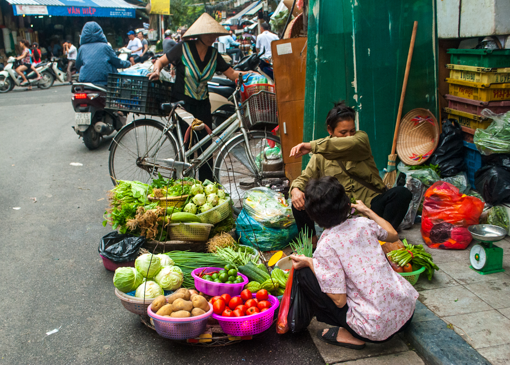 street vendor selling fruits in hanoi, vietnam
