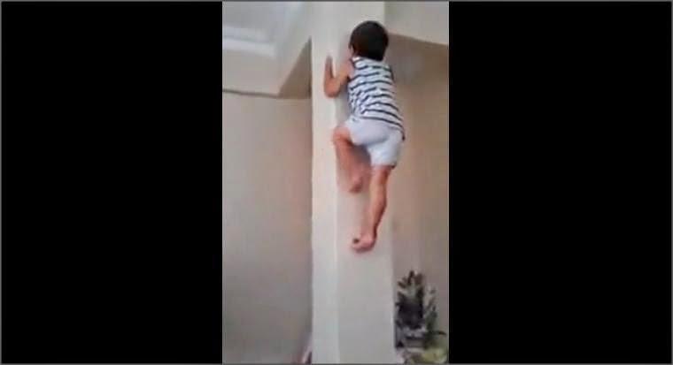 Bocah panjat tembok seperti Spiderman