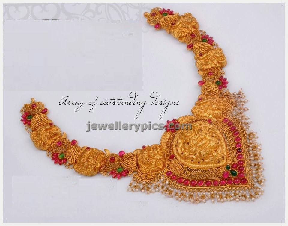 designer peacock necklace by anmol