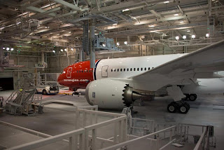 Norwegian Air's first Boeing 787 with its red and white livery