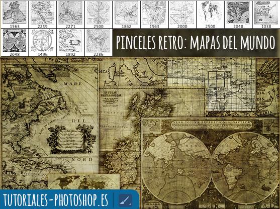 pinceles retro photoshop mapas