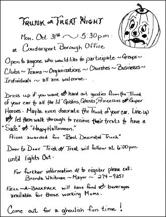 10-31 Trunk Or Treat Night Coudersport