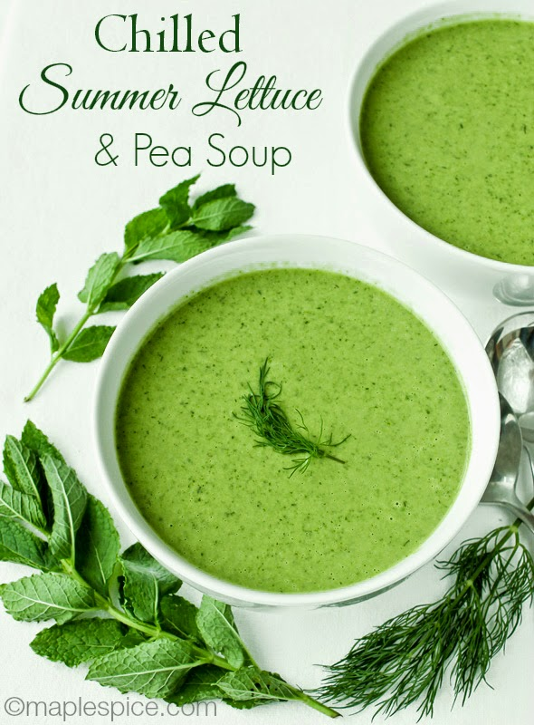 Chilled Summer Lettuce and Pea Soup - gluten free and vegan.