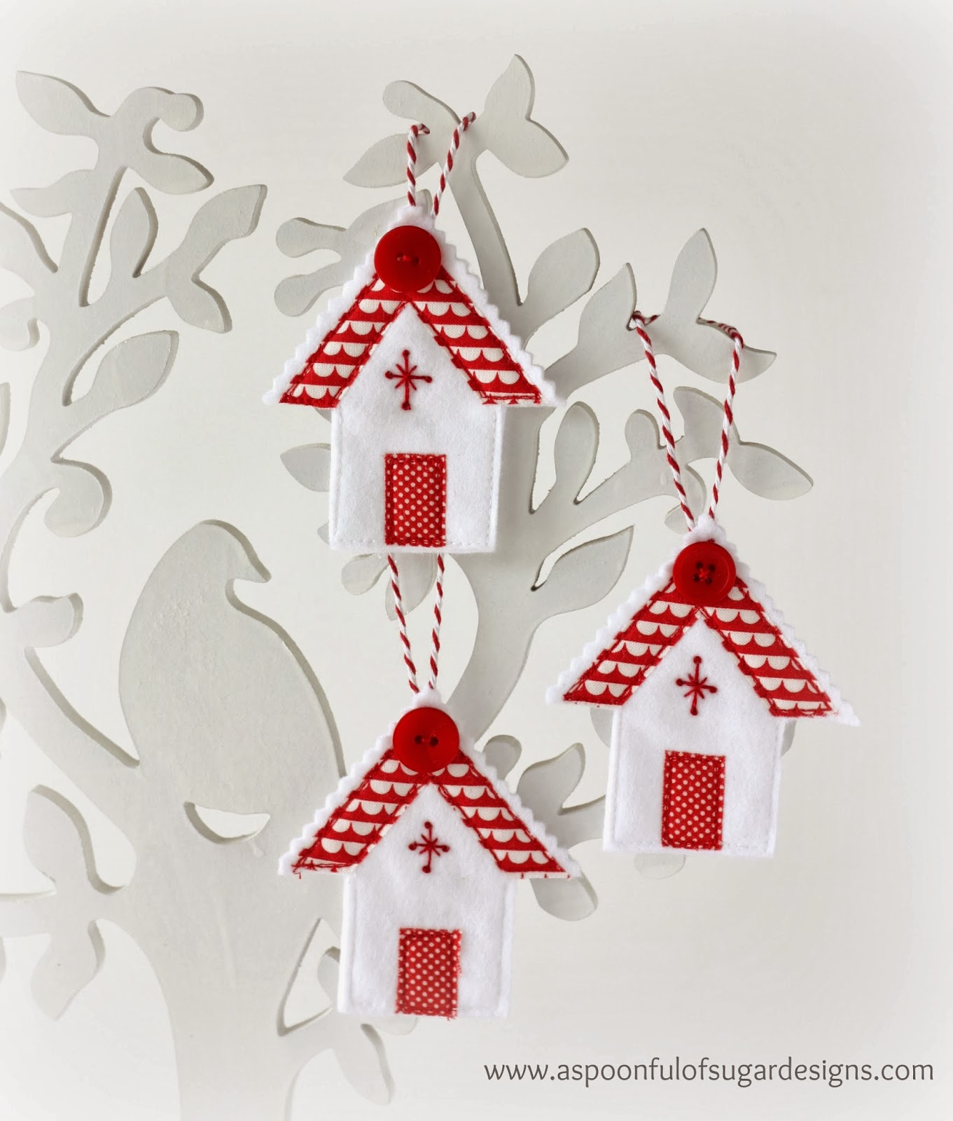White house christmas ornaments by year - Christmas House Ornaments Are Our Home Made Tree Decorations This Year Made From White Felt With Fabric Appliqu And Embroidery Detail They Suit Our