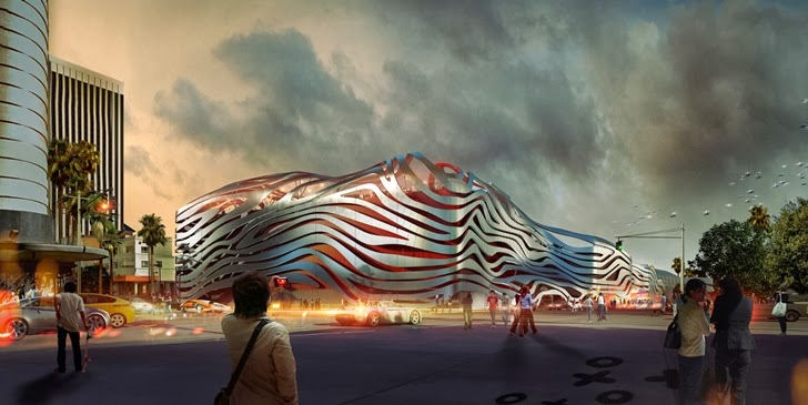 New facade of Petersen Automotive Museum in Los Angeles