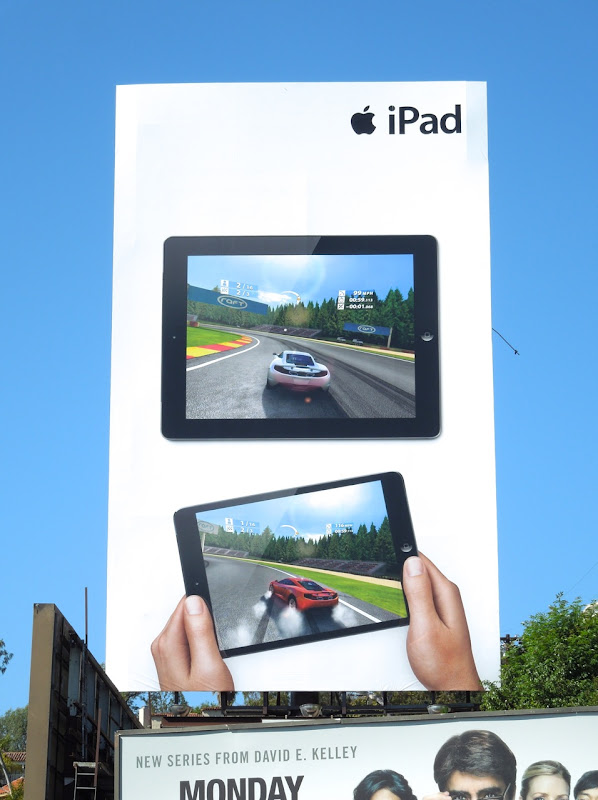 Giant Apple iPads car game billboard