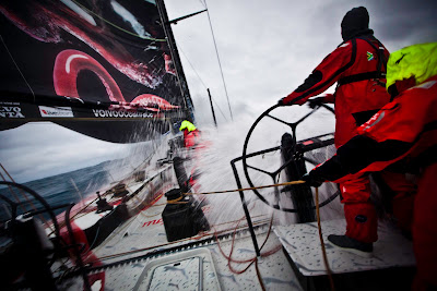 Jono Swain on the helm in fast downwind conditions. PUMA Ocean Racing powered by BERG during leg 5 of the Volvo Ocean Race 2011-12, from Auckland, New Zealand to Itajai, Brazil. (Credit: Amory Ross/PUMA Ocean Racing/Volvo Ocean Race)