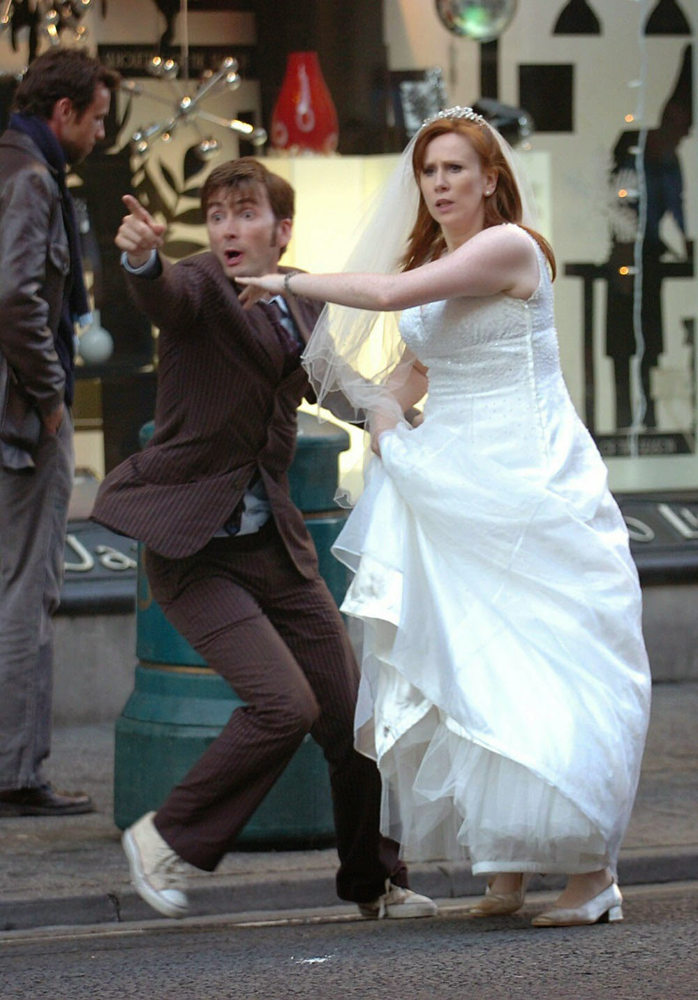 Scenes Of The Doctor And Donna Trying To Make An Escape From Robot Santas By Hailing A Taxi Were Filmed In Cardiff As Was Motorway Chase Sequence